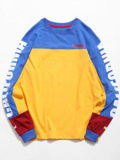 Camiseta Estampada Con Gráfico De Carta De Color - Amarillo Brillante 2xl