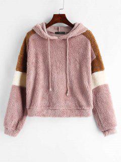 ZAFUL Color Block Drawstring Fluffy Hoodie - Lipstick Pink L