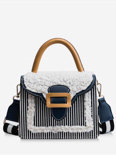 chic Fluffy Color Block Tote Bag - BLACK  Mobile