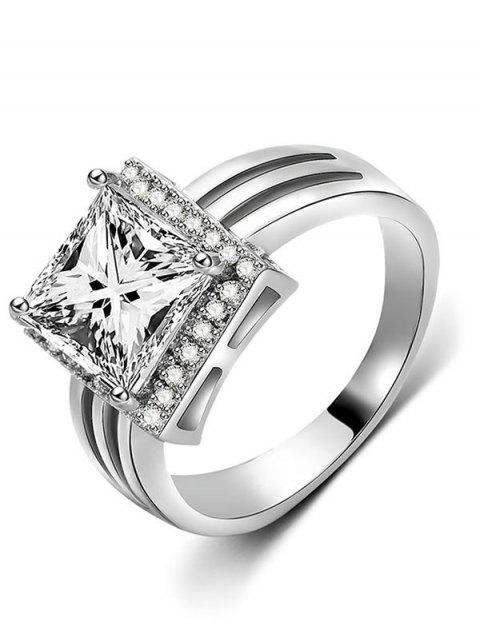 buy Rhinestone Geometric Shape Finger Ring - SILVER S Mobile
