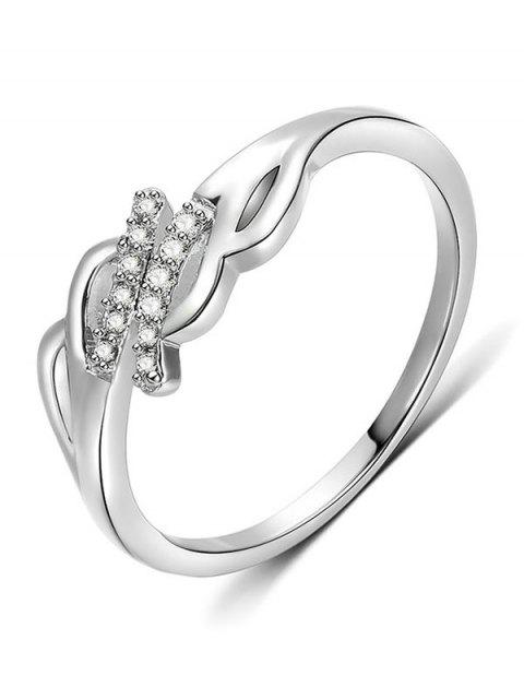 women Artificial Crystal Decorative Metal Finger Ring - SILVER M Mobile