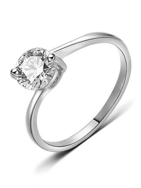 best Round Rhinestone Decorative Metal Finger Ring - SILVER M Mobile