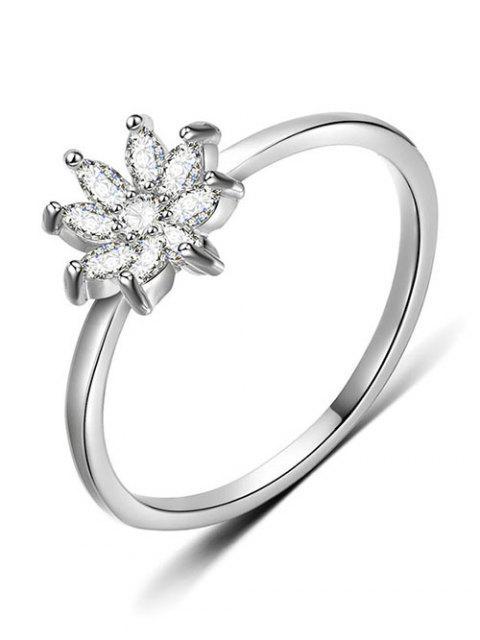 shop Rhinestone Flower Designed Finger Ring - SILVER M Mobile