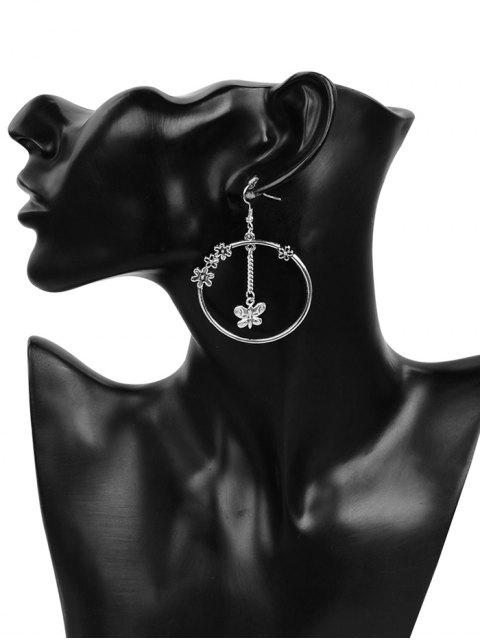 unique Butterfly Floral Round Hook Earrings - SILVER  Mobile