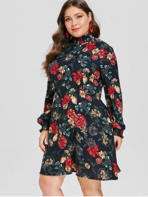 ladies ZAFUL Plus Size Ruffle Neck Floral Print Dress - DARK SLATE BLUE 1X Mobile