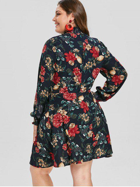 online ZAFUL Plus Size Ruffle Neck Floral Print Dress - DARK SLATE BLUE 4X Mobile