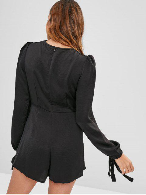 ladies Plunging Twisted Asymmetrical Romper - BLACK L Mobile
