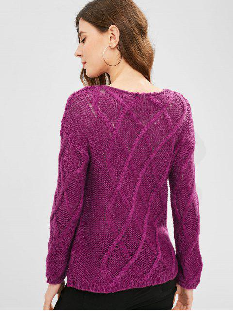 buy Cable Knit Lightweight Sweater - PLUM VELVET ONE SIZE Mobile