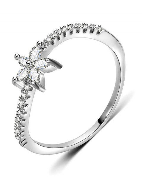 lady Artificial Diamond Floral Design Finger Ring - SILVER M Mobile