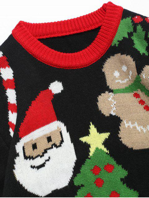 affordable Christmas Theme Printed Pullover Sweater - BLACK 2XL Mobile