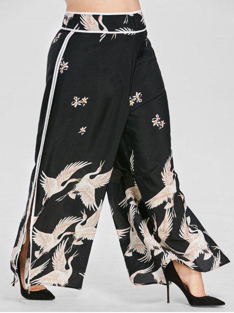 Pantalon Grue Imprimée à Jambe Large de Grande Taille - Noir 1X Mobile