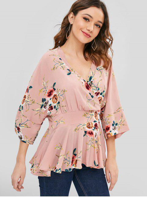 lady Surplice Skirted Floral Blouse - MULTI L Mobile