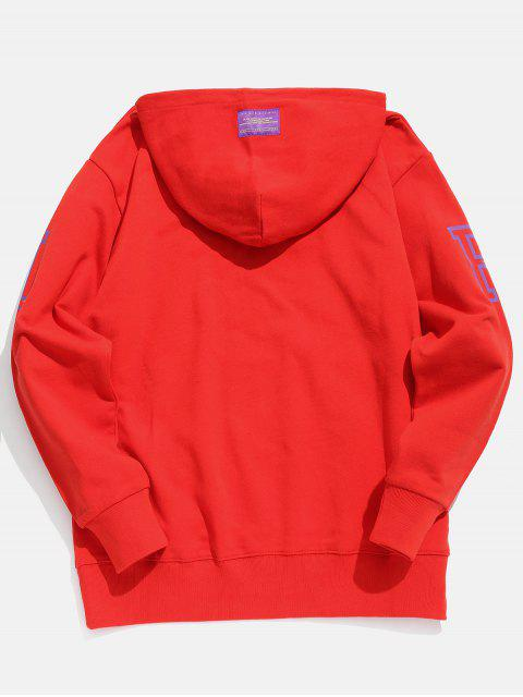 buy Candy Color Kangaroo Pocket Hoodie - LAVA RED L Mobile