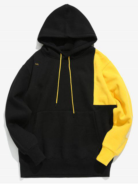 affordable Hit Color Splicing Hoodie - BLACK M Mobile