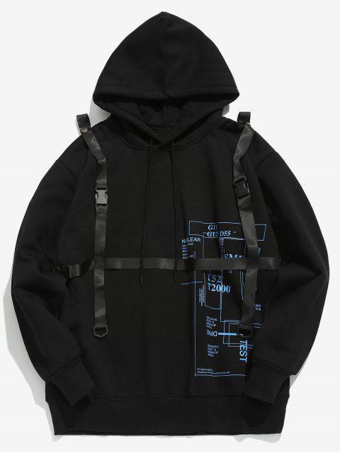 Sweat à capuche orné de ceinture de sécurité détachable - Noir 2XL Mobile
