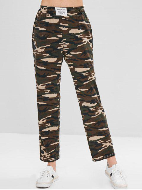 outfits ZAFUL Camo Print Jersey Wide Leg Pants - ACU CAMOUFLAGE L Mobile