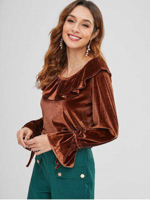online ZAFUL Ruffle Velvet Top - SEPIA M Mobile