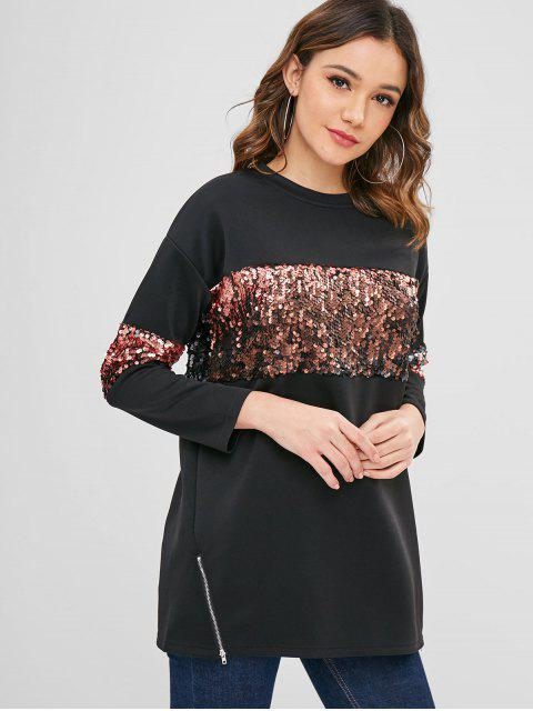 outfits ZAFUL  Sequined Tunic Pullover Sweatshirt - BLACK L Mobile