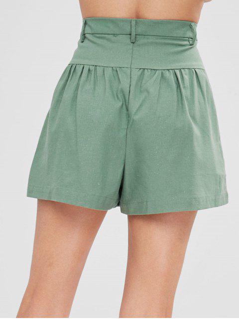 Short Taille Haute avec Trois Boutons - Vert Noisette M Mobile