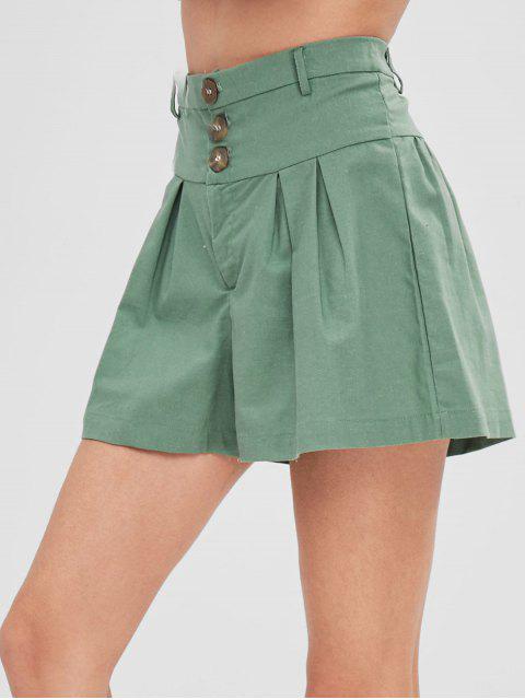 Short Taille Haute avec Trois Boutons - Vert Noisette L Mobile