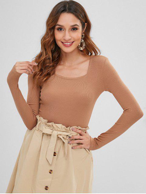 ladies Snap Button Scoop Bodysuit - CAMEL BROWN M Mobile
