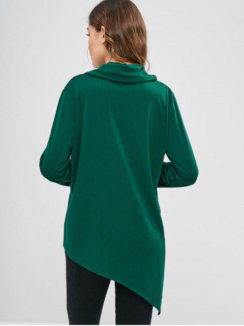 online Cowl Neck Slit Asymmetrical Top - MEDIUM SEA GREEN M Mobile