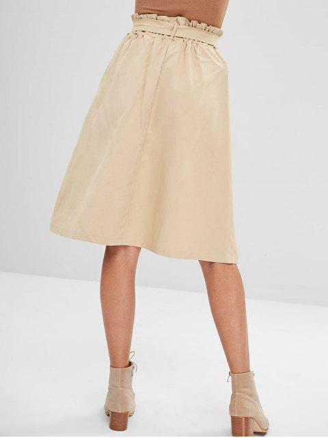 ladies Belted High Waisted A Line Skirt - LIGHT KHAKI ONE SIZE Mobile