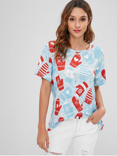 T-shirt Graphique Gants de Noël - Bleu Léger  M Mobile