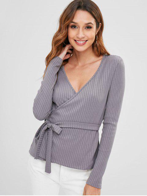 fancy Ribbed Wrap Top - BATTLESHIP GRAY M Mobile