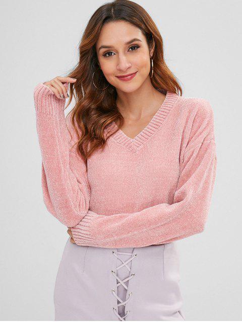 Chenille Pullover mit Hängender Schulter und V Ausschnitt - Rosa Eine Größe Mobile
