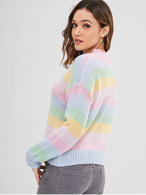 hot ZAFUL Multicolor Striped Loose Sweater - MULTI L Mobile