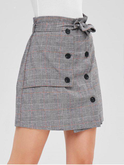 women's Double Breasted Plaid Mini Skirt - MULTI M Mobile