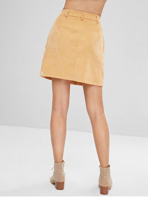 trendy Button Front Corduroy Pockets Skirt - SUN YELLOW M Mobile