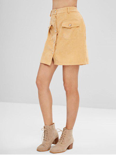 outfit Button Front Corduroy Pockets Skirt - SUN YELLOW XL Mobile