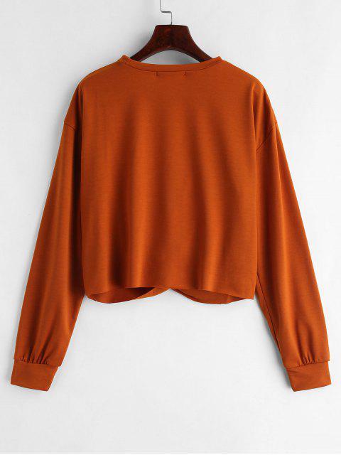 sale ZAFUL Twist Front Plain Sweatshirt - LIGHT BROWN S Mobile