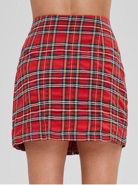 outfits Zip Front Plaid A Line Skirt - RED S Mobile