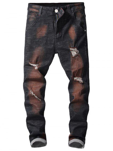 hot Retro Paint Ripped Jeans - FIREBRICK 36 Mobile