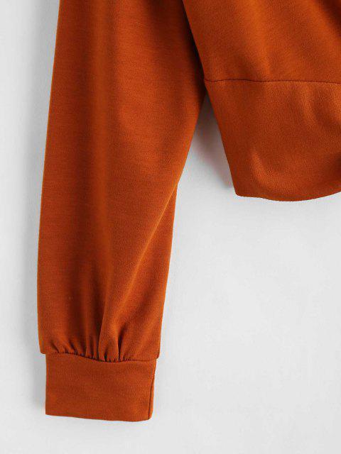 buy ZAFUL Twist Front Plain Sweatshirt - LIGHT BROWN L Mobile