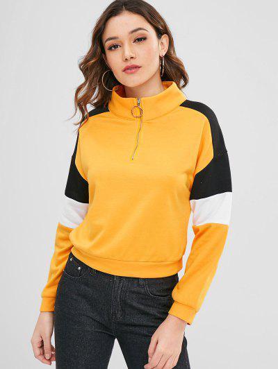 ZAFUL Raglan Sleeve Terry Pullover Sweatshirt - Bright Yellow M