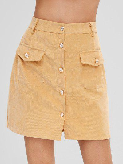 Button Front Corduroy Pockets Skirt