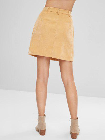 Button Front Corduroy Pockets Skirt, Sun yellow