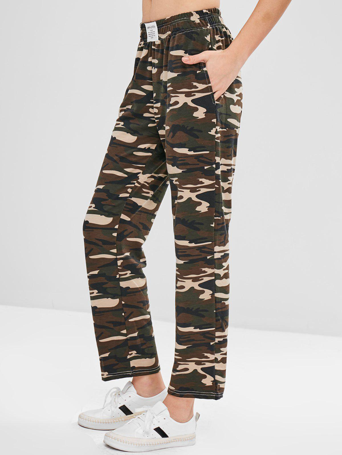 ZAFUL Camo Print Jersey Wide Leg Pants