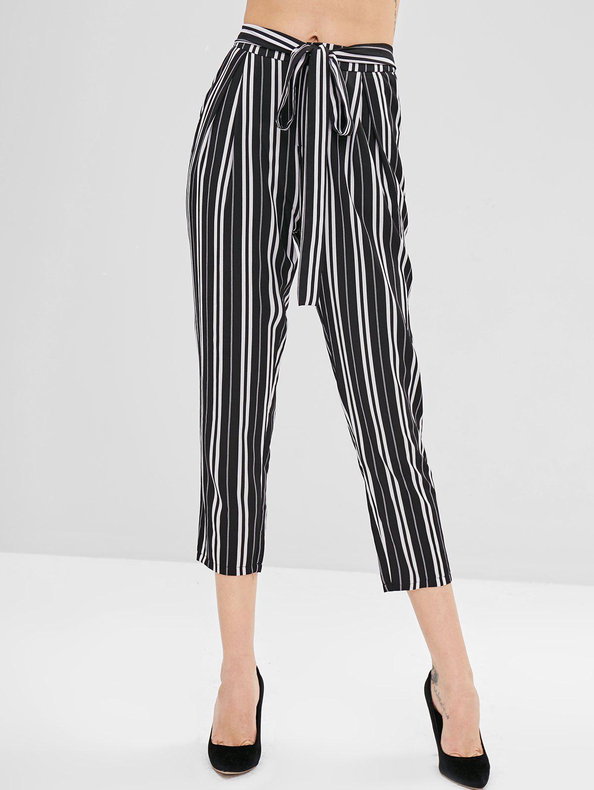 ZAFUL Striped High Waisted Tapered Pants, Multi