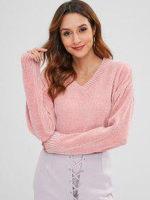 40 Off 2019 Chenille Drop Shoulder V Neck Sweater In Pink One Size