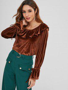 ZAFUL Ruffle Velvet Top - بني داكن L