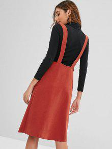 98c66676087 35% OFF  2019 Raw Hem Buttoned Pinafore Dress In CHESTNUT RED
