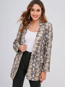 Open Front Snake Print Blazer - متعدد S