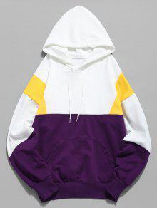 لون كتلة الحقيبة جيب هوديي - أبيض Xl