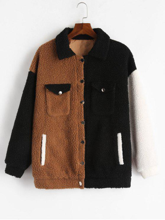 outfits ZAFUL Fluffy Color Block Winter Teddy Coat - MULTI S