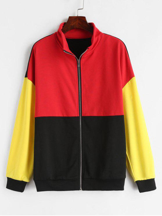 hot ZAFUL Zip Up Color Block Terry Sweatshirt - MULTI M